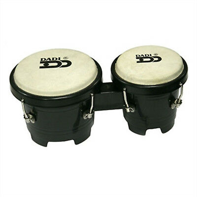 "Mini Bongo Drums Black Dadi 4½"" & 5"" Natural Skins Bongos Kids Girls Toy Gift"
