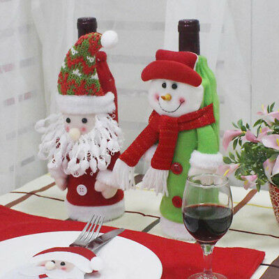 Merry Christmas Snowman Santa Claus Wine Bottle Cover Home Party Gift Xmas LG