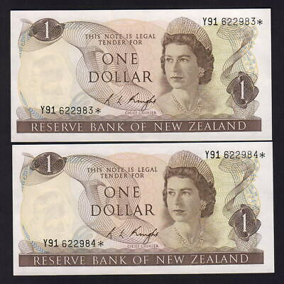 New Zealand  P-163c. (1975-77) $1 - STAR Note.. Prefix Y91..  UNC - CONSEC Run 5