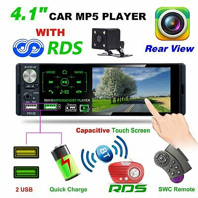 "4.1"" touch 1Din auto Stereo MP5 Player RDS AM Radio FM BT TF USB telecamera post"