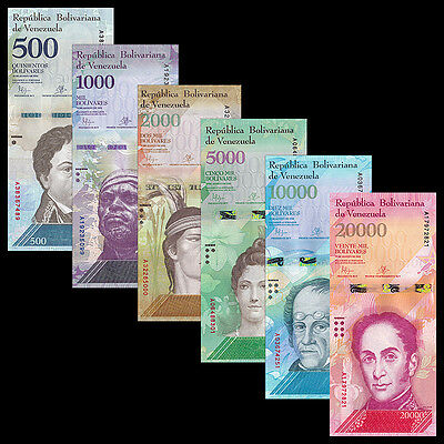 Venezuela Set 6 PCS, 500 1000 2000-20000 Bolivares, 2016(2017), P-NEW,UNC