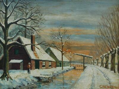 Antique Signed Dutch Oil on Wood Panel of A Snowy Winter Farmhouse Scene & Canal