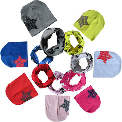 Baby Boy Girl Kid Soft Cotton Beanie Hat Bobble Cap+Snood Scarf Neckerchief KW