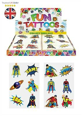 48 Childrens Super Hero Temporary Tattoos Kids Loot Party Bag Fillers Boys Girls