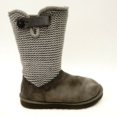 3e87210a0d8 WOMEN'S SHOES UGG Shaina Suede & Knit Cuff Boots 1012534 Grey *New ...