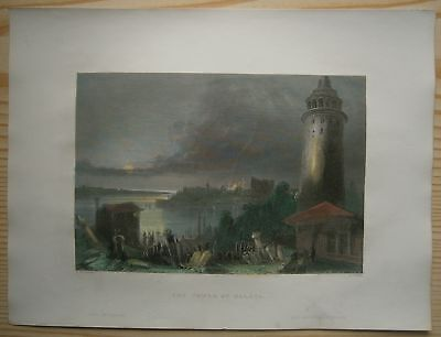 1838 Bartlett print GALATA TOWER, ISTANBUL, TURKEY (#62)