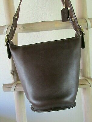 e84ba1ae4ad4 Vintage Coach 9953 Helen S Legacy Brown Leather Bucket X-Body shoulder Bag