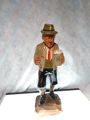 Vintage Hand Carved Hand Painted Wooden Figure Of A Man From Hamburg Germany...