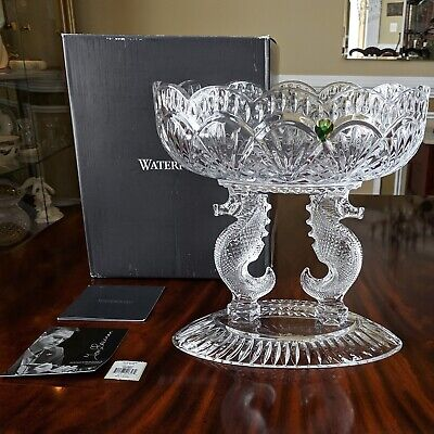 """Waterford Crystal Double SEAHORSE 11"""" Oval Pedestal Bowl Centerpiece Master Sig"""