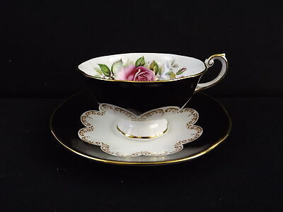 Queens Ebony Teacup and Saucer Fine China Made In England BEAUTIFUL