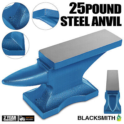 Iron Anvil Blacksmith Single Beck Cast Iron 11KG Hardy Holes 25 LBS Blue GREAT