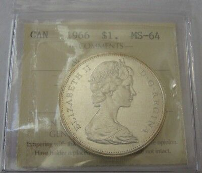 1966 Canada Silver Dollar - Small Beads - ICCS MS64 Extremely Rare Gem Coin