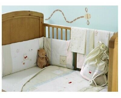 Disney Winnie Pooh Neutral Cot & Cot/Bed Bumper Padded with  Embroidery & Ties