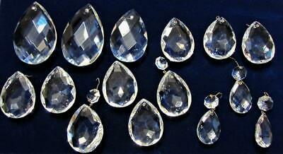 """Set of 15 Assorted Crystal Faceted Almond Teardrop Prisms Lot 1 1/2"""" - 3"""" Long"""