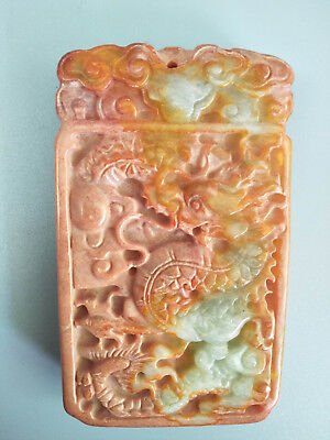 Chinese Exquisite Hand-carved old jade dragon  pendants D5