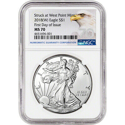 2018-(W) American Silver Eagle - NGC MS70 - First Day of Issue - Grade 70