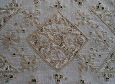 Vintage Italian Linen Table Runner Figural Cutwork Embroidery Honeycomb Lace