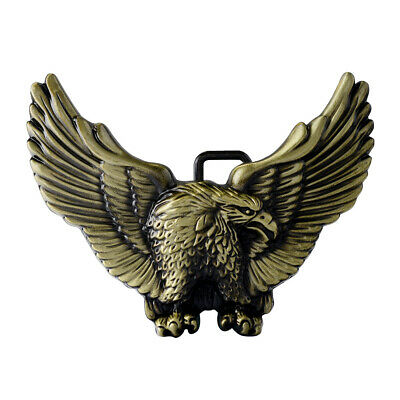 Mens Vintage Flying Hawk Pattern Alloy Metal Cowboy Leather Belt Buckle Western