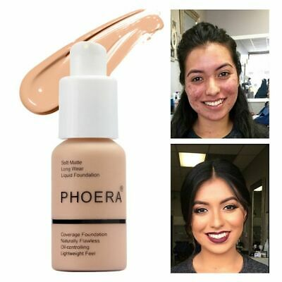Coverage Concealer PHOERA Liquid Foundation Longlasting Cosmetic Moisturizing