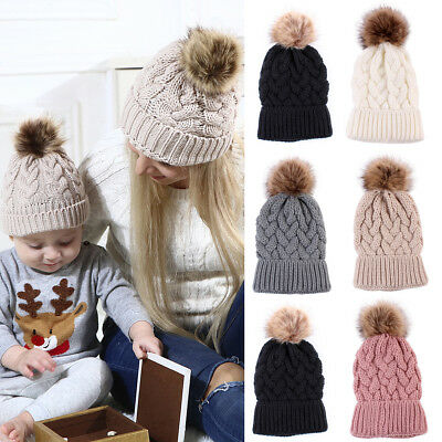 c818a8d4216941 Fashion Women's Outdoor Winter Warm Chunky Knit With Fur Pom Pom Beanie Hat  Cap