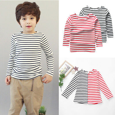 Kids Baby Boys Girls Striped Cotton Long Sleeve T-shirt Tops Tees Clothes Outfit