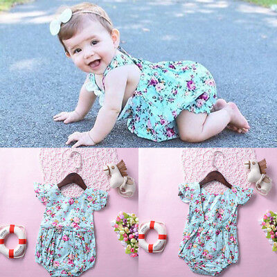 3580df2167fae NEWBORN INFANT BABY Girl Floral Romper Bodysuit Jumpsuit Outfits Summer  Clothes