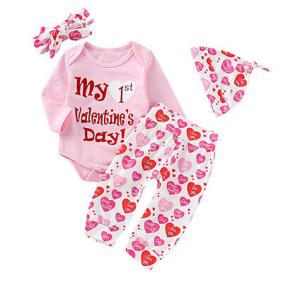 fcbcba58bbd8b 4PCS NEWBORN BABY Boy Girl Valentine's Day Outfits Clothes Set Romper  Tops+Pants