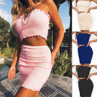 Women 2 Piece Bodycon Bandage Two Piece Crop Top and Skirt Set Party Mini Dress
