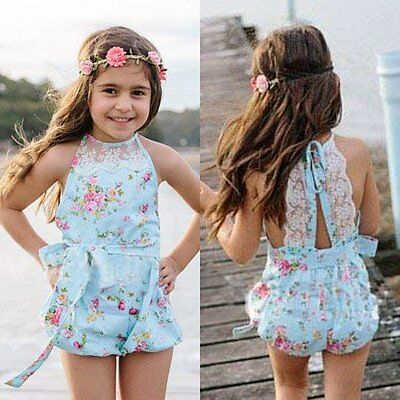 Newborn Baby Girls Lace Floral Rompers Bodysuit Jumpsuit Outfits Sunsuit Clothes