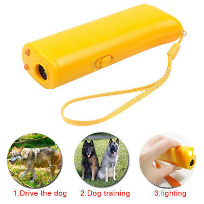 LED Ultrasonic Aggressive Pet Dog Repeller Training Aid Stop Anti Barking Device