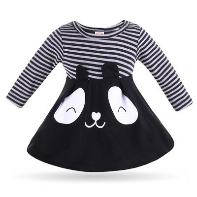 ded8194c9fa3 Toddler Kids Baby Girls Long Sleeve Striped Pageant Party Casual Dress  Clothes
