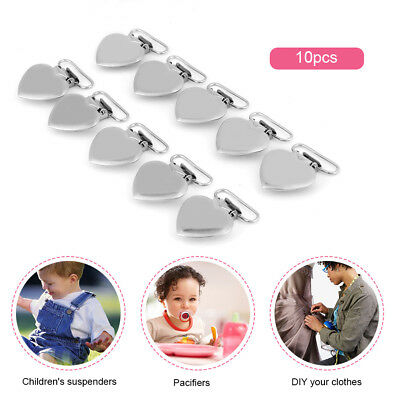 10pcs Silver Metal Peach Heart Suspender Braces Clips Holder Plastic Teeth
