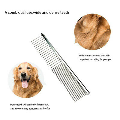 """Stainless Steel 7"""" Pet Dog Cat Grooming Combs Finishing Butter Wide Trimmer Comb"""