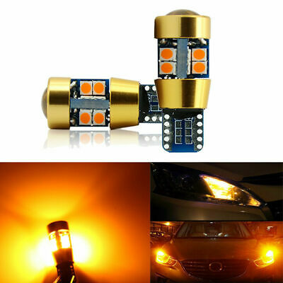 2x Amber T10 15W 3030 19SMD Canbus Error Free LED Parking Light Lamp Bulbs 6000K