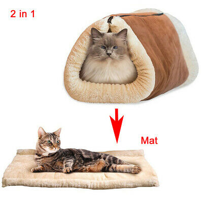 2 in 1 Cat Pet Bed Tunnel Fleece Cushion Mat Pad Dog Kennel Crate House Sofa S/M