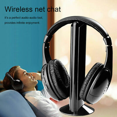 5 in 1 Headset Wireless Headphones Cordless RF Mic for PC TV DVD CD MP3 MP4 AU
