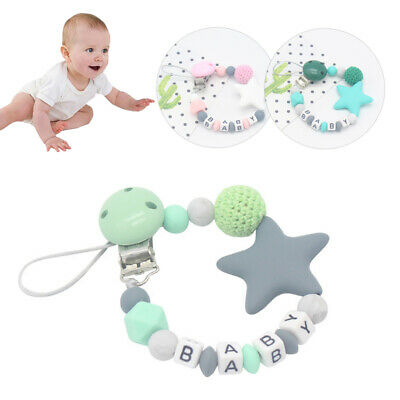 Baby Silicone Dummy Chain Pacifier Clip Nipple Holder Soother Chew Letters Gift