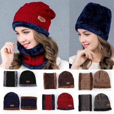 Men Women Balaclava Hat Winter Warm Beanie Baggy Wool Fleece Ski Cap + Scarf Set