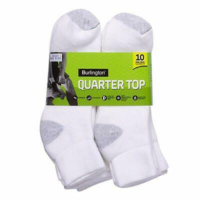 Burlington Men's Cotton Quarter Socks Comfort Power (10-Pack) White 10-13