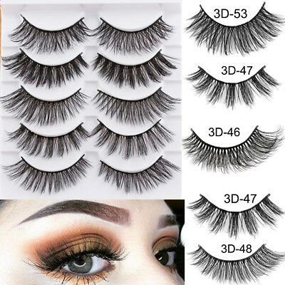 5Pairs 3D Faux Mink Hair False Eyelashes Extension Wispy Fluffy Think Lashes D/O