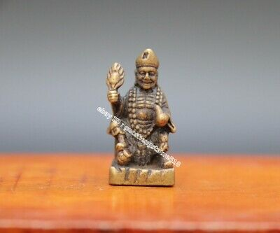 3 CM Pure Bronze Copper China Ancient Folk Monk Mad Monk Jigong Amulet Sculpture