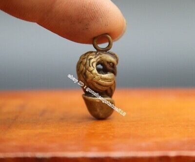 3CM Bronze Chinese Zodiac Animal chicken chook glans penis Statue Amulet Pendant