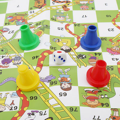 Portable Snakes and Ladders Board Game Party Home Game Travel Camp LG