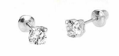 1.5 mm Round Diamond Tiny Stud Screwback Earrings~14k White gold ~ Gift box