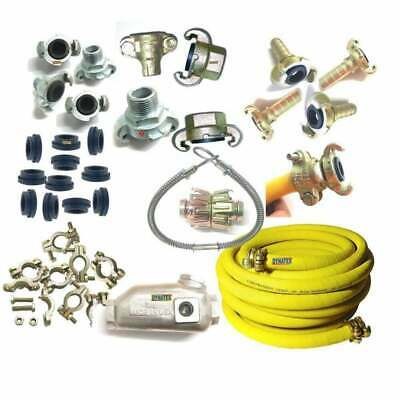 """Compressor Hose 3/4"""" Coupling, Clamps, Whipcheck Cable 3/8"""" 1/2"""" 1"""" QR For Plant"""