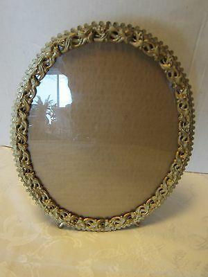 """Antique Victorian Glass Tin Brass plated Picture Frame Ornate 10.5"""" T USA vtg"""