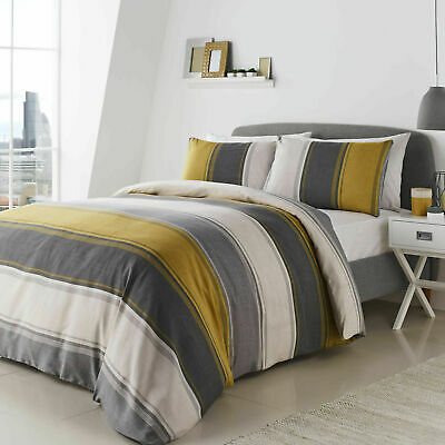Fusion Betley Wide Stripe Ochre and Grey Duvet Quilt Cover Bedding Set