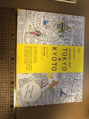 Tokyo Kyoto Coloring book Map Two pieces Made in Japan