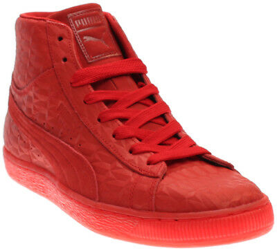 Men's 9.5 rio red high top puma suede mid emboss