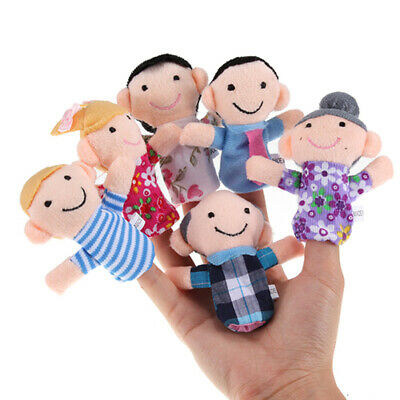6 Pcs Family Finger Puppets Set Baby Kids Play Game Plush Cloth Doll Toy Gift